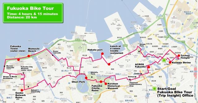 福岡バイクツアーのルートマップ