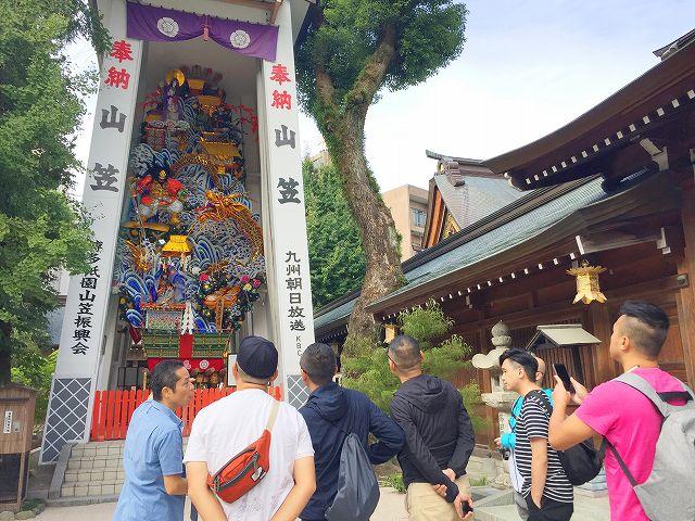 福岡バイクツアーページの櫛田神社の写真