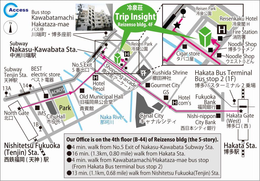 福岡バイクツアーオフィスへの行き方の地図